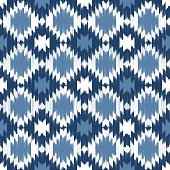 Seamless vector ikat pattern in blue.