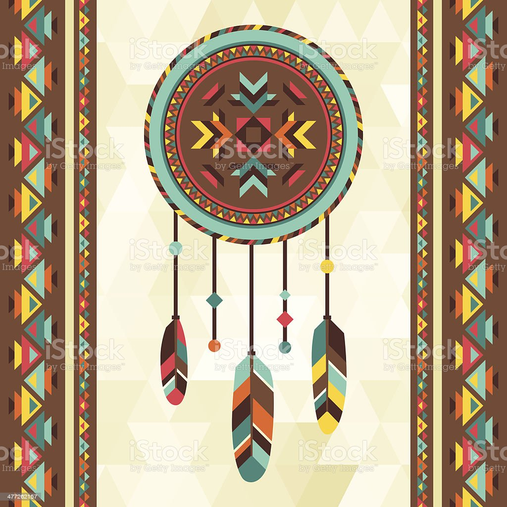 Ethnic background with dreamcatcher in navajo design. vector art illustration