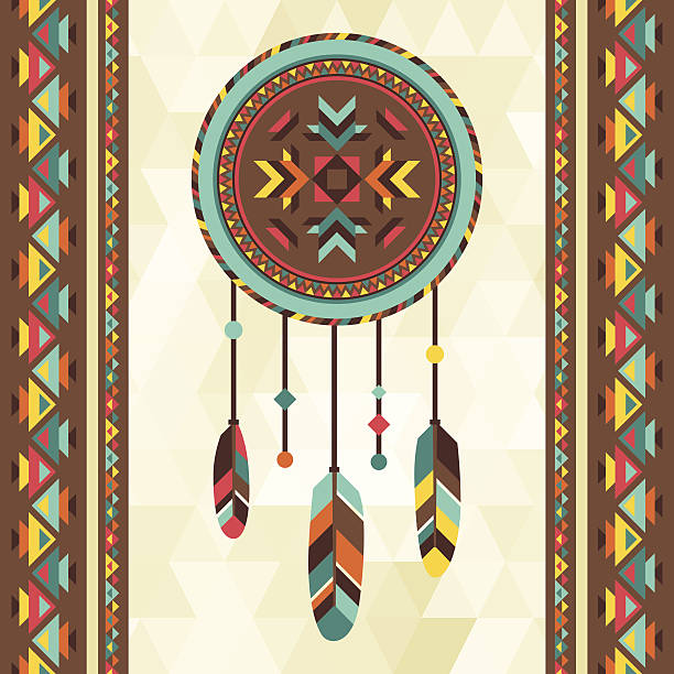 Ethnic background with dreamcatcher in navajo design. Ethnic background with dreamcatcher in navajo design. indigenous peoples of the americas stock illustrations