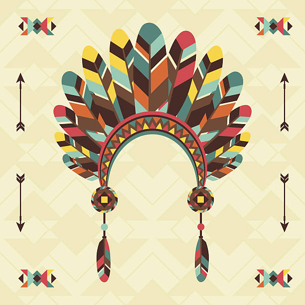 ethnischen hintergrund mit stirnband im navajo-design. - kopfschmuck stock-grafiken, -clipart, -cartoons und -symbole