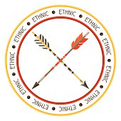 Ethnic background with indian arrows in native style.