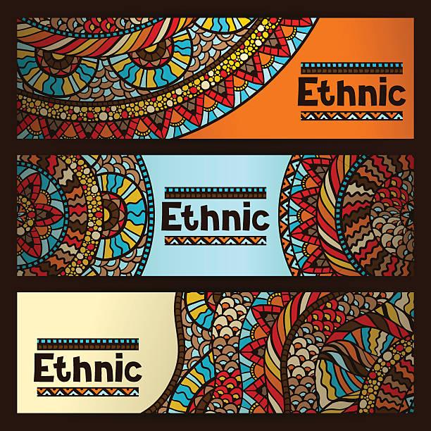 bildbanksillustrationer, clip art samt tecknat material och ikoner med ethnic banners design with hand drawn ornament - latino music