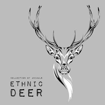 Ethnic black head of deer. Тattoo design.Vector illustration