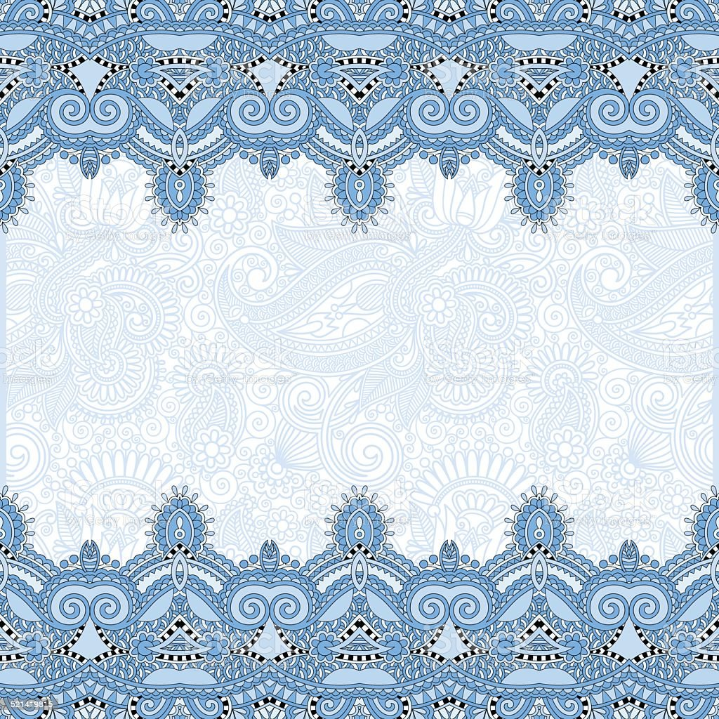 Ethnic Blue Colour Stripe Ornament On Floral Background