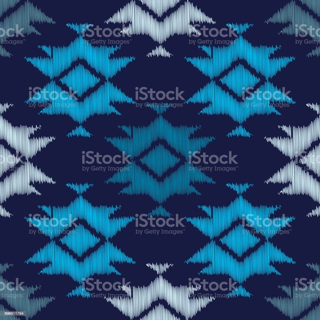 Boho étnico Azul De Patrones Sin Fisuras Bordado En Tela Motivo ...