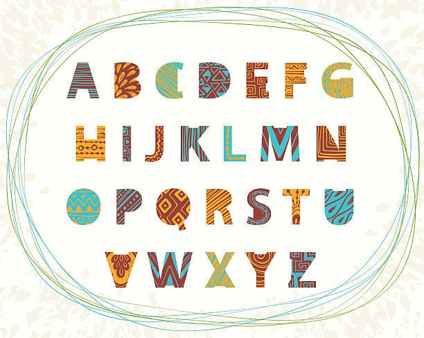 illustrazioni stock, clip art, cartoni animati e icone di tendenza di etnico luminoso vettoriale con lettere dell'alfabeto. - bambine africa