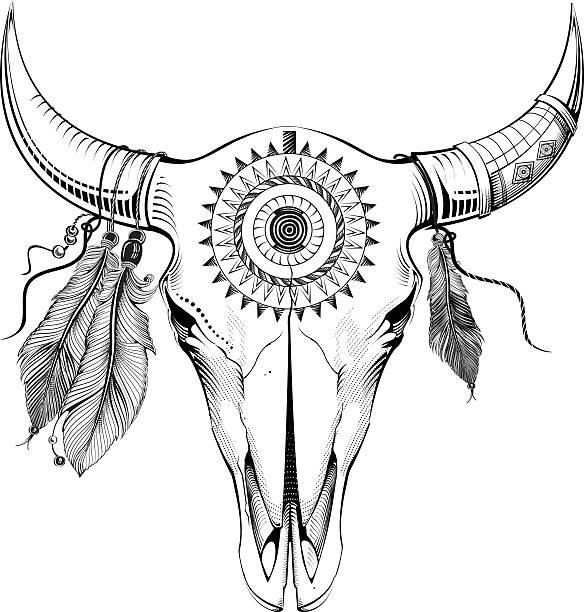 ethnic bull skull - animal skull stock illustrations