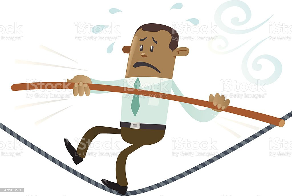 Ethnic Business Buddy walks the tightrope royalty-free stock vector art