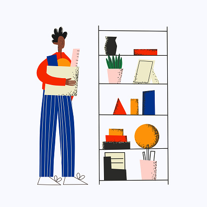 ethnic business man in office workspace.Manager takes things to the closet.Rack with office supplies.Dismissal and relocation concept.The worker carries a box with documents and tools.Colorful flat