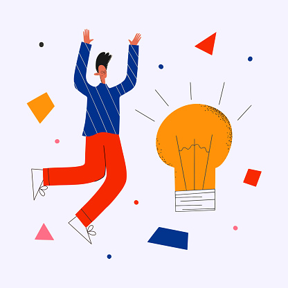 ethnic business man invented the idea.Success in creativity and creativity.Business concept of brainstorming and idea generation.An innovative solution.Marketer and designer light bulb and geometr
