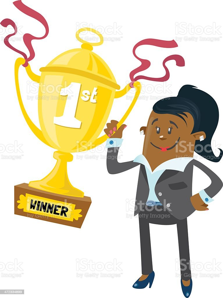 Ethnic Businesswoman Buddy wins a First Prize trophy royalty-free stock vector art