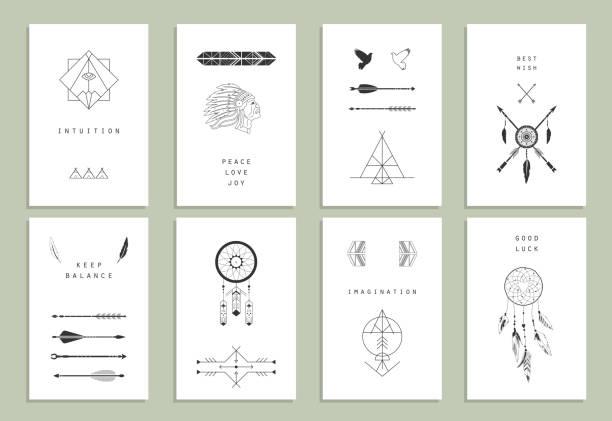 Ethnic cards. Arrows, Indian elements, Aztec borders and embellishments. Ethnic cards. Arrows, Indian elements, Aztec borders and embellishments. teepee stock illustrations