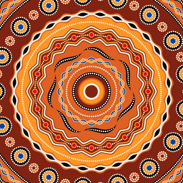 stockillustraties, clipart, cartoons en iconen met de ontwerp van de achtergrond van de etnische cirkel. australische traditionele geometrische sieraad - tribale kunst
