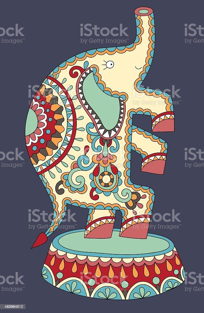 Couleur Ethnique Dessins De Thème éléphants Dans Le Cirque