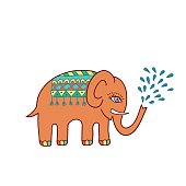Ethnic colorful pattern with elephant