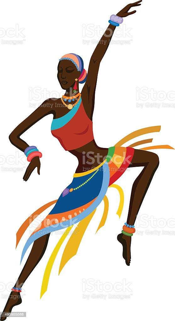 Ethnic dance african woman vector art illustration