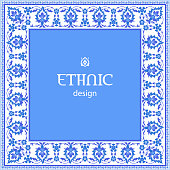 Ethnic design. Traditional Arabic Ottoman Iznik motif. Vintage vector background in blue and white