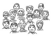 Hand-drawn vector drawing of an Ethnic Diversity, Group Of People. Black-and-White sketch on a transparent background (.eps-file). Included files are EPS (v10) and Hi-Res JPG.