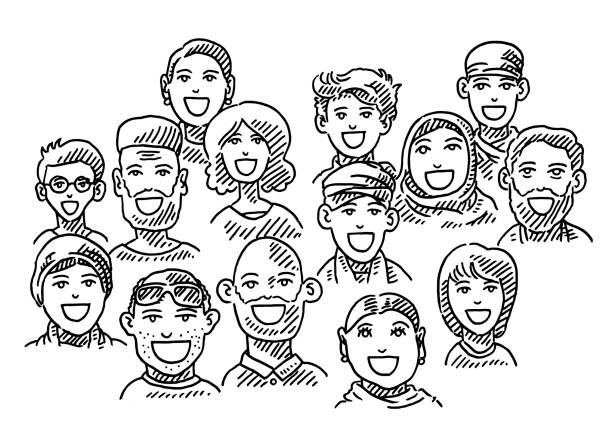 ethnic diversity group of people drawing - toothy smile stock illustrations