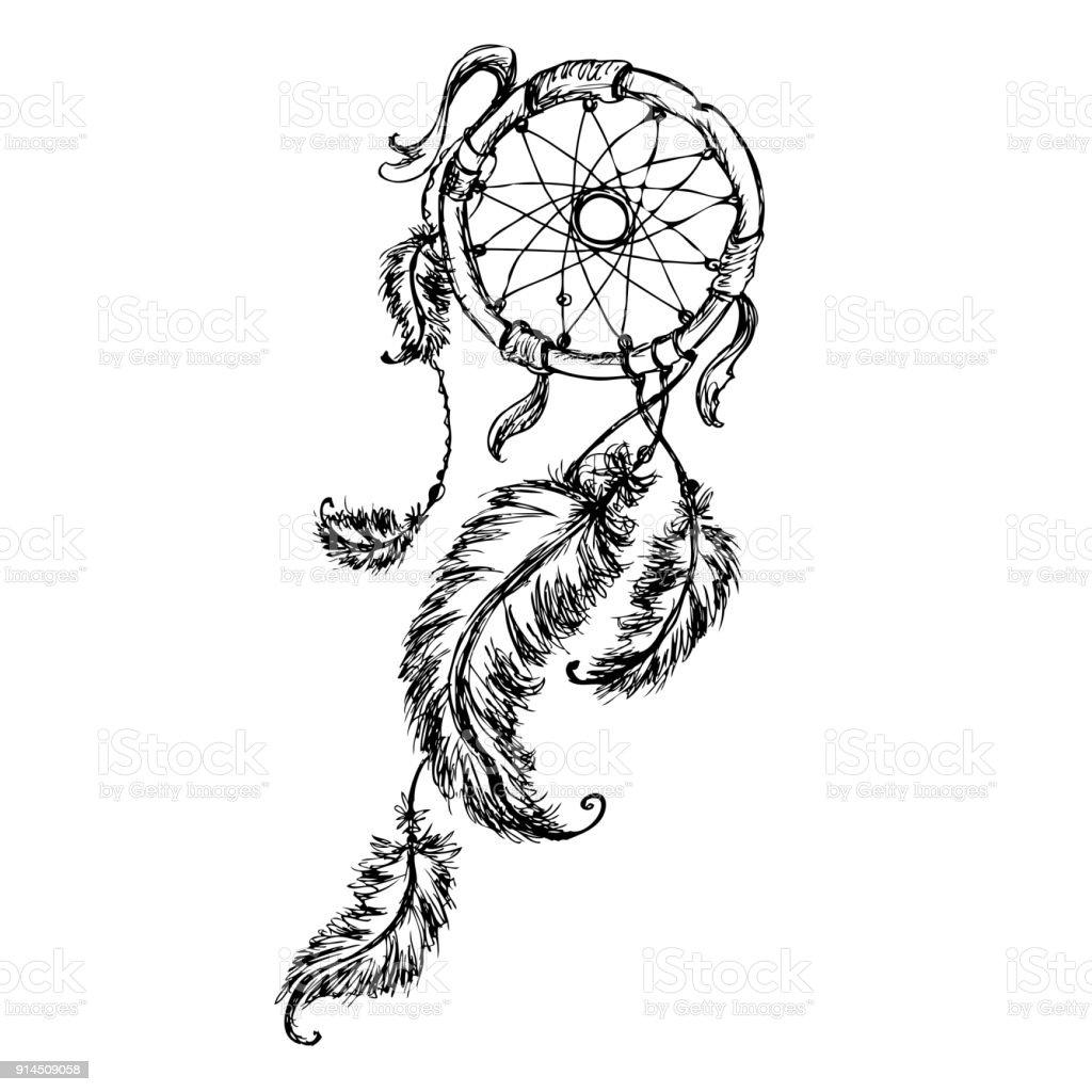 Capteur de rêves ethniques avec des plumes. - Illustration vectorielle