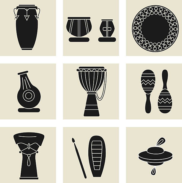 ethnic drums black icons Collection of nine percussion instruments. Black silhouettes of conga, indian tablas, daf drum, maracas, djembe, udu, guiro,cymbals and doumbek. tavla stock illustrations