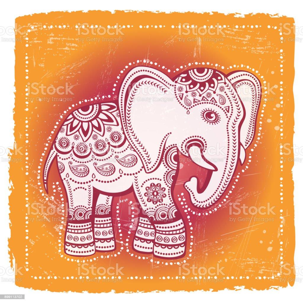 Ethnic Elephant On Tribal Background Indian God Ganesha Indian