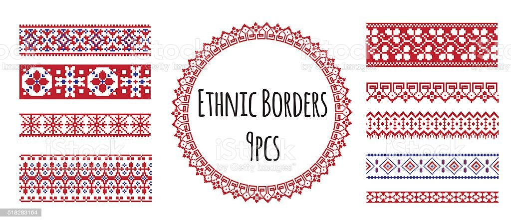 Ethnic emproidery borders for design and pattern brush vector art illustration