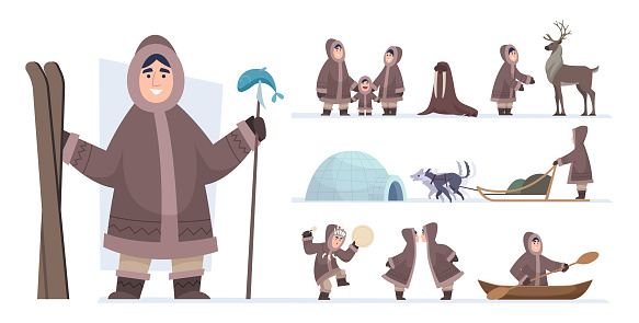 Ethnic eskimo people. Authentic alaska persons male and female wild hunters exact vector adventure concept characters in cartoon style