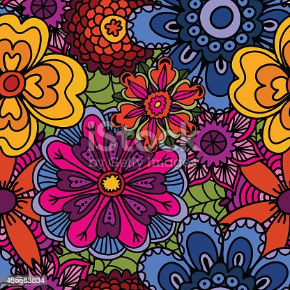 istock Ethnic floral doodle seamless background. Beautiful doodle art flowers. 485583834