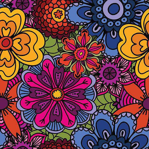 stockillustraties, clipart, cartoons en iconen met ethnic floral doodle seamless background. beautiful doodle art flowers. - hippie
