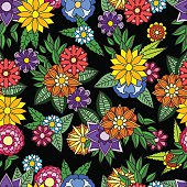Ethnic floral doodle seamless background. Beautiful doodle art flowers.