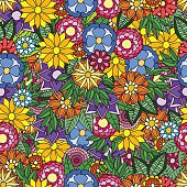 Seamless floral background. Swatch is included.