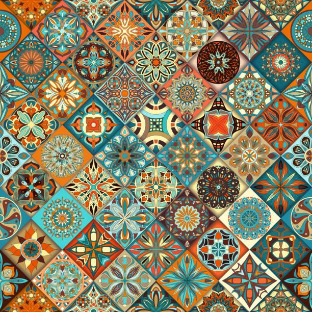 ethnic floral mandala seamless pattern. colorful mosaic background. - bohemian fashion stock illustrations, clip art, cartoons, & icons