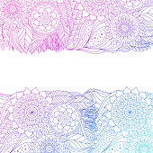 Ethnic floral pattern with mandalas. Boho design. Pink and blue ornament border on white background, line art, for greeting card, invitation. Vector illustration.