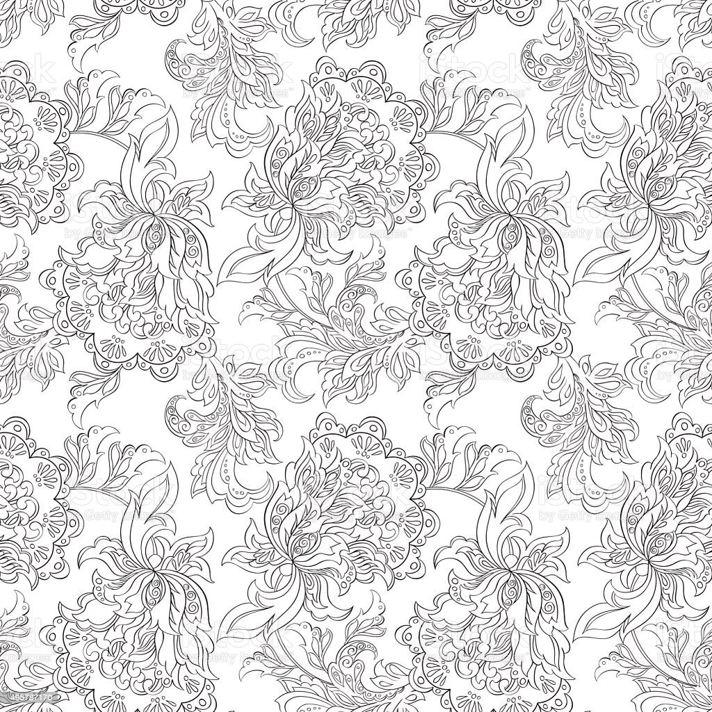 Ethnic Floral Seamless Pattern Folkloric Batik Vector