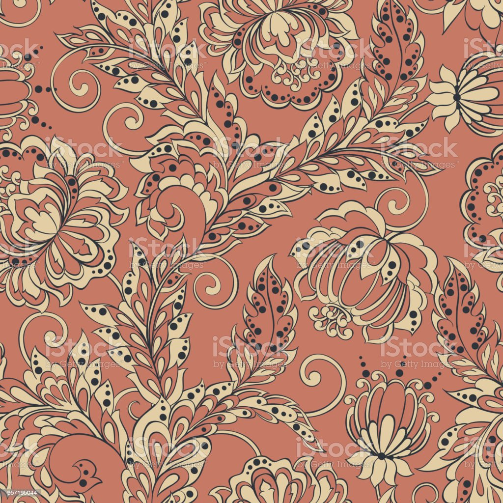 Ethnic Flowers Seamless Pattern Vintage Floral Vector Background