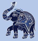 ethnic folk art indian elephant, vector