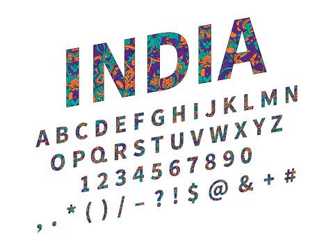 Ethnic font. Ornament alphabet. Vector abc set