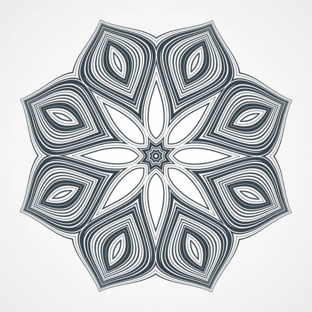 ilustrações, clipart, desenhos animados e ícones de étnico fractal mandala - fontes de tatuagem