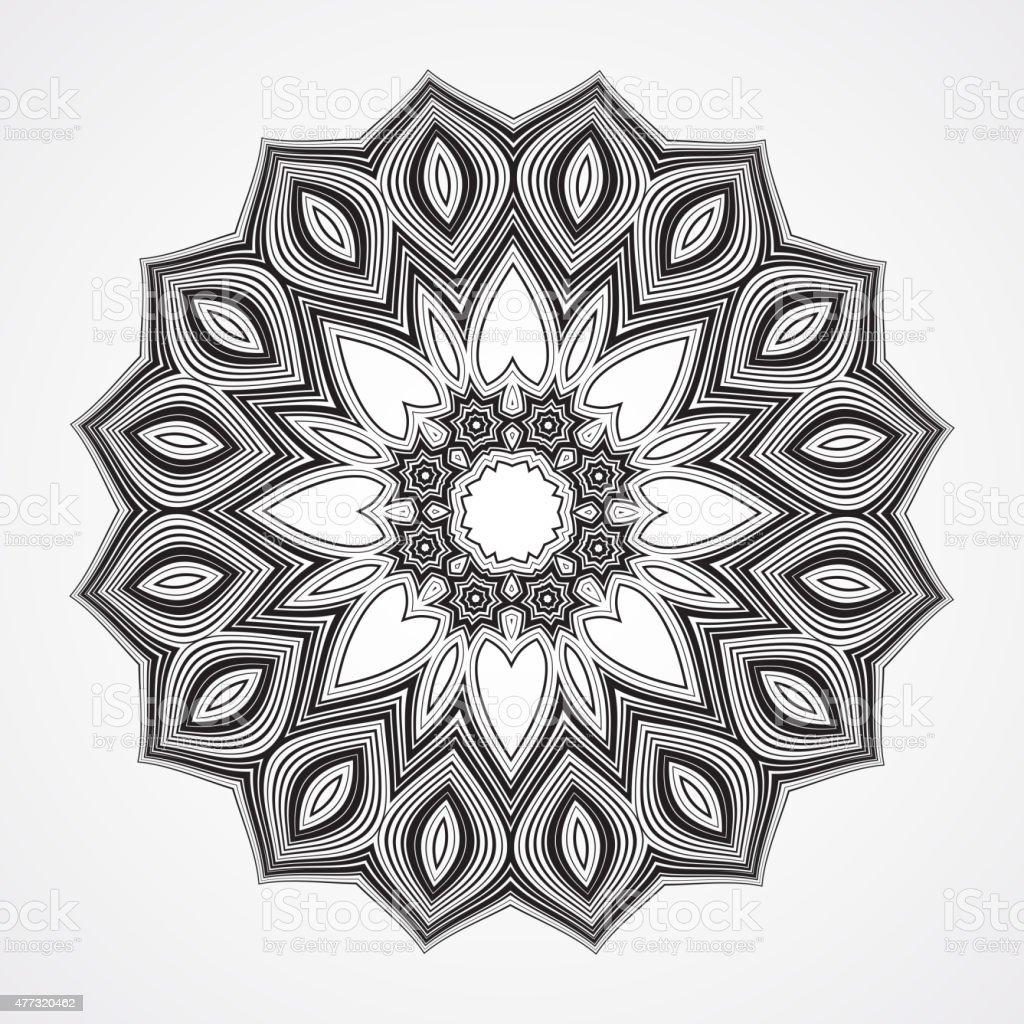 Étnico Fractal Mandala - ilustração de arte em vetor