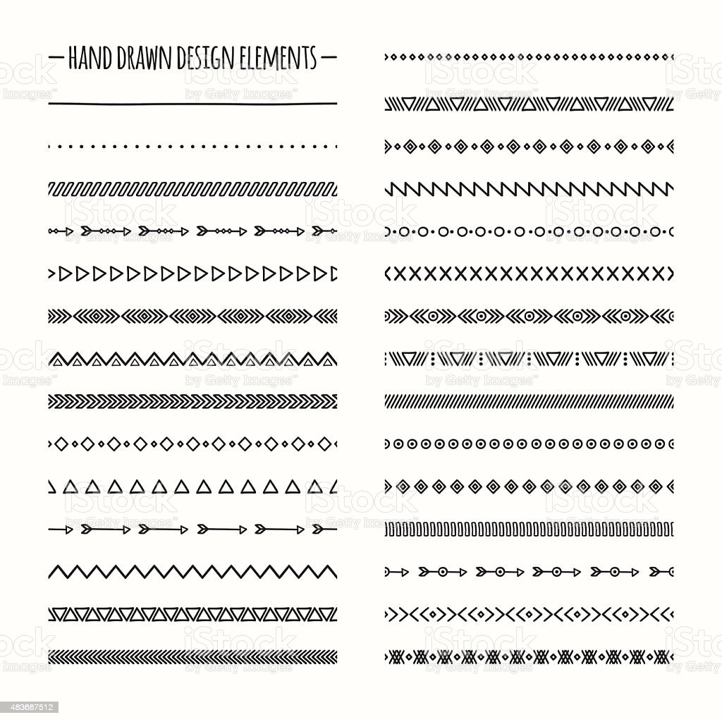 Ethnic hand drawn vector line border set. Native brushes. vector art illustration