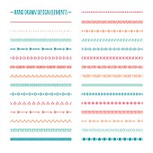 Ethnic hand drawn vector line border set. Native brushes.