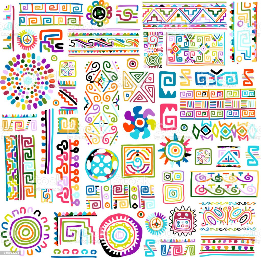 Ethnic handmade colorful ornament for your design vector art illustration