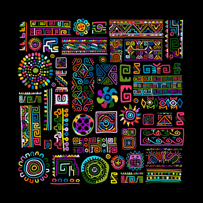 Ethnic handmade colorful ornament for your design