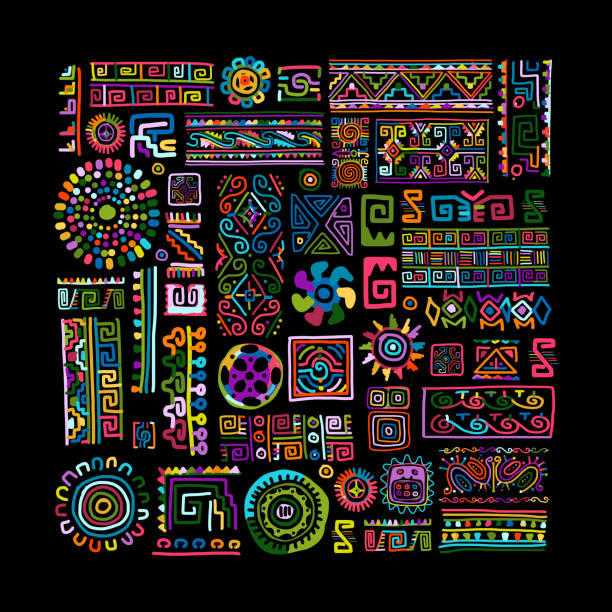 ethnic handmade colorful ornament for your design - 圖畫 藝術品 幅插畫檔、美工圖案、卡通及圖標