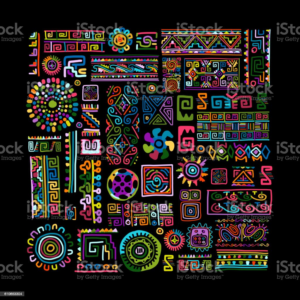 Ethnic handmade colorful ornament for your design - Illustration vectorielle