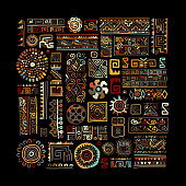 Ethnic handmade ornament for your design. Vector illustration