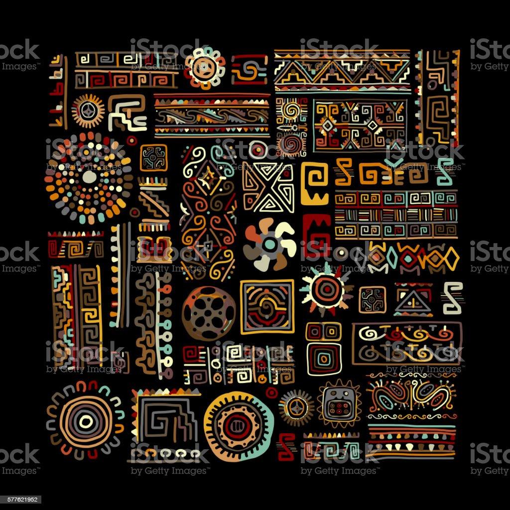 Étnica ornament para su diseño artesanal  - ilustración de arte vectorial