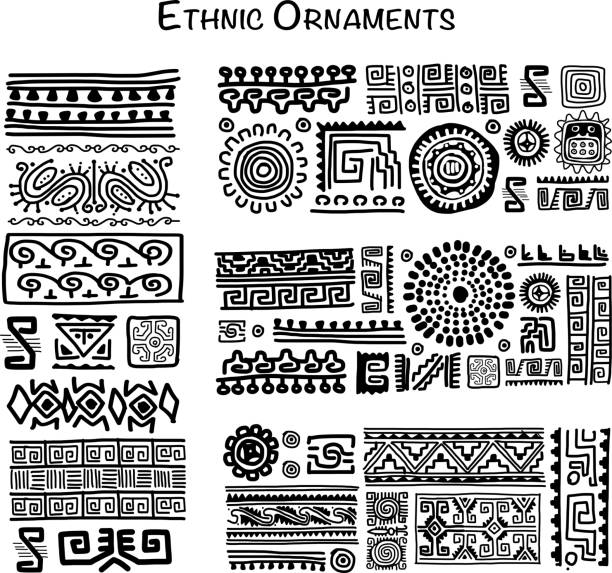 illustrazioni stock, clip art, cartoni animati e icone di tendenza di etnico decorazione realizzata a mano per i tuoi progetti  - sfondo scarabocchi e fatti a mano