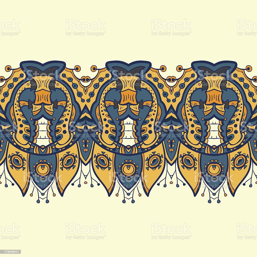 Ethnic horizontal seamless pattern. Indian ornament royalty-free stock vector art